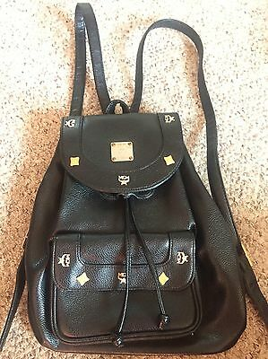 Mcm Brand Vintage Black Color Leather Backpack Authentic Mcm Bag