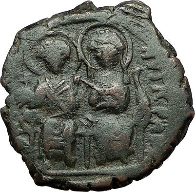 JUSTIN II & Queen Sophia 565AD Constantinople Medieval Byzantine Coin i59343