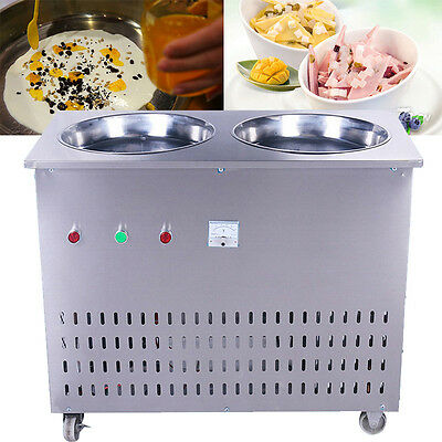 Stainless Steel Multi-functional Commercial Double Pan Fried Ice Cream Machine