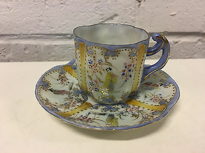 Antique Japanese Porcelain Cup & Saucer Geisha & Enamel Decoration AA Valentines