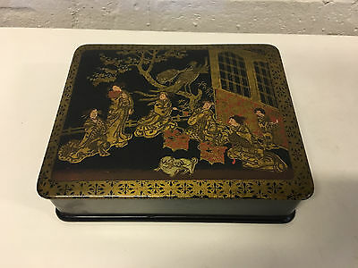 Antique Japanese Painted Lacquer Box w/ Women Birds Dogs & Gold Decoration