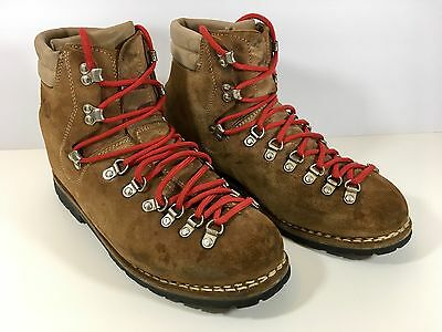 ASOLO SPORT Suede Brown Leather Hiking Boots Mens 10 Made In Italy Vibram Soles!