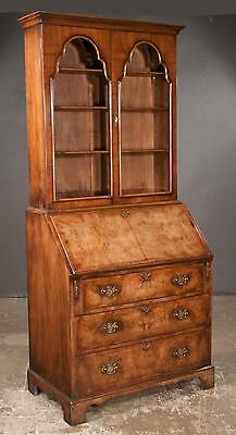 Queen Anne style walnut bureau bookcase with arched glass panel door... Lot 257A