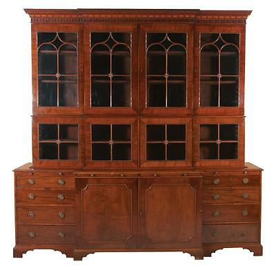 Fine Sheraton mahogany breakfront bookcase, crown moulding has blind ... Lot 100
