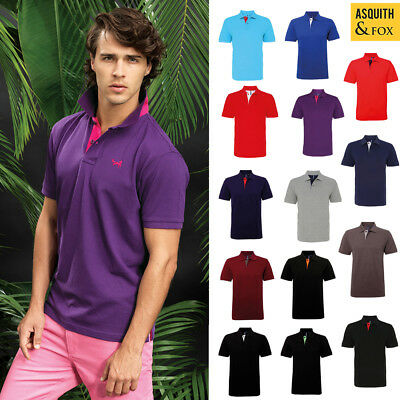 Asquith & Fox Men's Classic Fit Contrast Polo AQ012 - Smart/Casual top  S-3XL