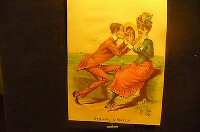 victorian trade card # 2998 - STRIKING A MATCH ( COURTING )