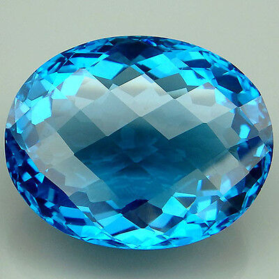 Charming!!! 28.9ct. Blue Topaz Oval&Checkerboard Table