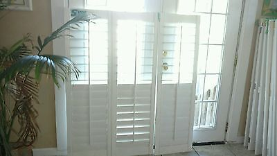 "New Solid Wood Plantation Shutters  3 1/2"" Louvers White Set (U)"