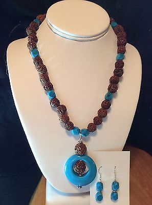 HANDMADE Howlite Turquoise Necklace and Earrings Set