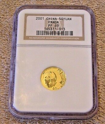 2001 CHINA GOLD PANDA PROOF 1/10 oz. 50 Yuan. NGC PF69