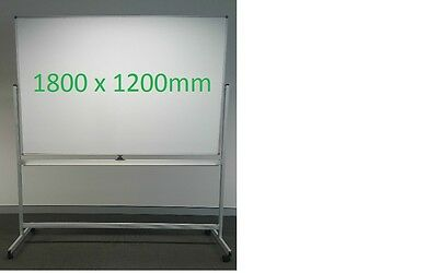 Office Whiteboard Magnetic Mobile with wheels on Stand Two Sided 1800 x 1200mm