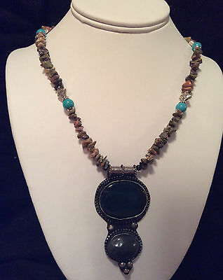 HANDMADE Jasper & Unakite Necklace Turquoise and Silver Beads