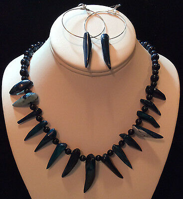 HANDMADE Blue Coral Necklace and Earrings Set
