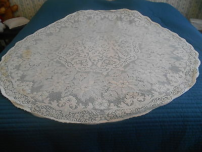 """Vintage Ivory Cream White Color Lace Crocheted Cotton Round Tablecloth 62"""""""