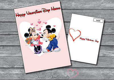 Personalised Cute Minnie And Mickey Valentines Day Card Your Name s2