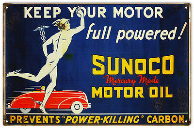 """Reproduction Full Powered Sunoco Motor Oil Sign 12""""x18"""""""