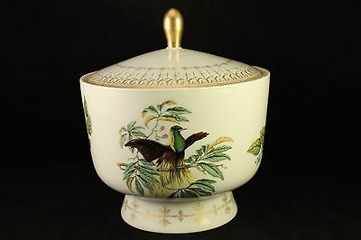 Vtg Mottahedeh China Emperor of Germanys Lesser Bird Of Paradise Covered Bowl