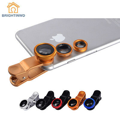 3 In 1 Mobile Phone Fish Eye + Wide Angle + Macro Camera Lens Universal Kit