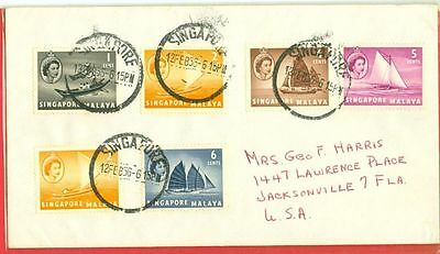 Singapore Malaya 5 diff stamp used on cover to USA 1956