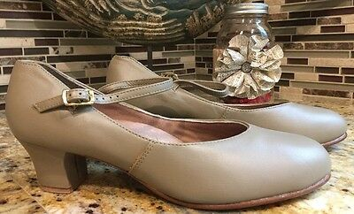 Capezio Tan Leather Character Footlight Shoes Size 8.5 NEW