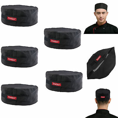 5pcs TINKSKY Black Mesh Top Skull Cap Catering Chefs Hat/Adjustable Strap