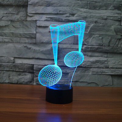 3D LED Musical Note Lamp 7 Color Changing Table Lamp Home Decor  Nightlight Lamp