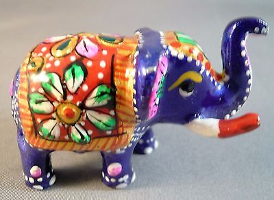 Handmade Painted Royal Maharajah's Baby Elephant Enamel Figure Lucky Trunk Up