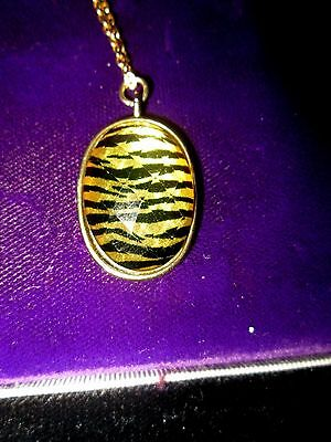 Vintage Gold Plated  Yellow & Black Domed Pendant Complete 18ins Chain Cased