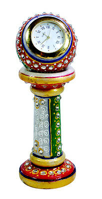 Handmade Indian Home Decor Kundan Painted USA Marble Clock Showpiece Artefacts
