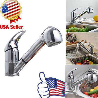 Polished Chrome Pull-Out Single Handle Kitchen Sink Faucet Spout Spray Mixer Tap