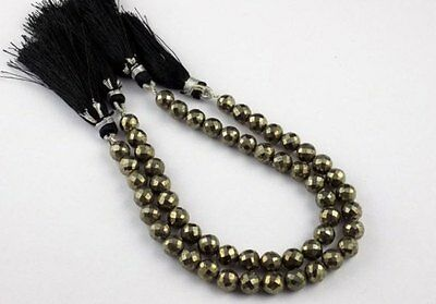 """1 Strand Natural Pyrite Faceted Rondelle Shape 6MM Gemstone Beads Approx 7"""" Long"""