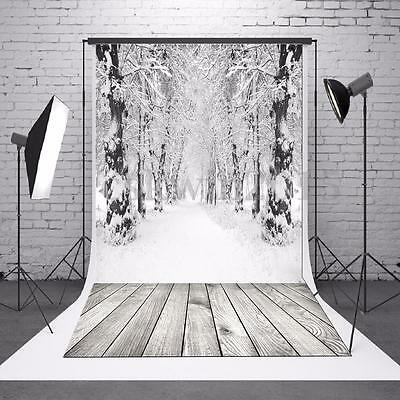 7x5FT Snow Forest Wood Floor Photo Vinyl Studio Photography Background Backdrop