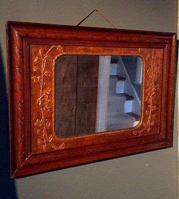 A Wonderful Arts And Crafts Wooden Mirror