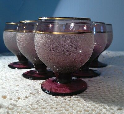 Set  6 Vintage Frosted purple Pastel Shade Glasses - 1950s/1960s