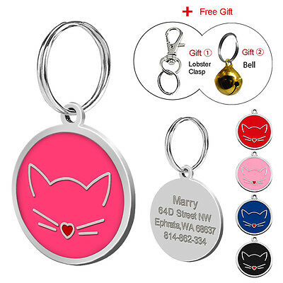 Stainless Steel Cat Pet Tags Engraved Dog ID Name Tag for Kitty Kitten Free Bell