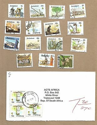 Zimbabwe: 15 diff used + 4 TAXED covers. (Insufficient postage) (Ref 963)
