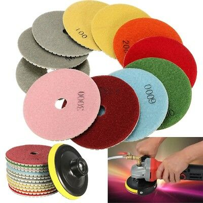12pcs 4'' Diamond Polishing Pads Wet Dry Set Kit For Granite Concrete Marble US