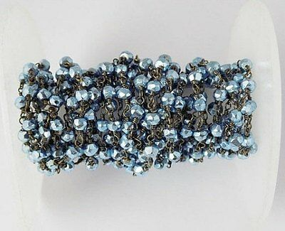 10 Feet Blue Pyrite Faceted Beads in Black Wire Rosary Beaded Chain Beads 3-4mm