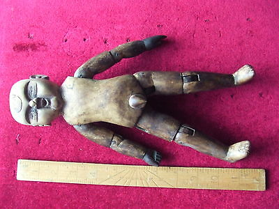 """Early Chinese Wooden Articulated Artist's Manikin.  12"""" Tall.  Very Rare.item."""
