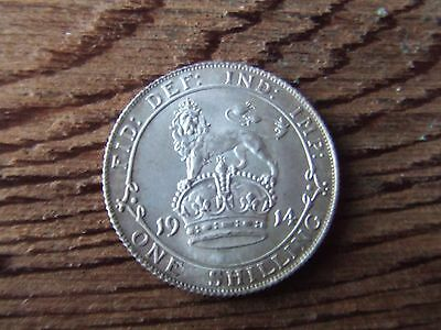 George V.   1914, Silver Shilling.  Scarce.    Superb Mint Condition.