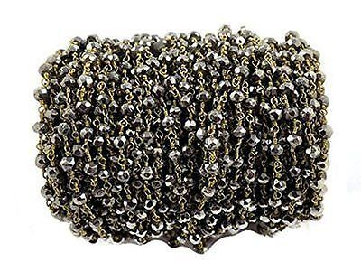 10 Feet Dark Silver Steel Pyrite Beaded Chain 24k Gold Plated 3.5-4mm Faceted