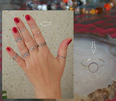 Boho 925 Sterling Silver Circle Ring 1mm Band Midi Ring  Above Knuckle Ring.