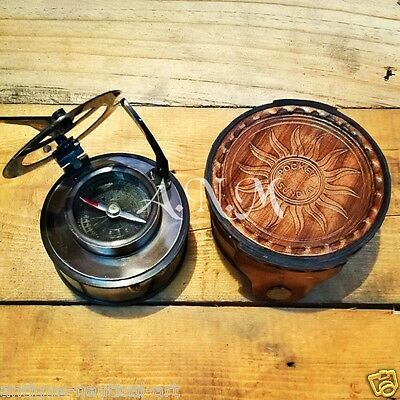 Elliot Bro Brass Sundial Compass Antique With Leather Case Marine Collectible