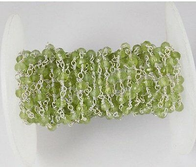 10 Feet Peridot 2.5-3mm Rondelle Faceted 925 Silver Plated Beaded Handmade Chain