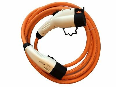 Peugoet Ion EV Charging Cable fast 32amp 5m orange Type 2 to Type 1 + case