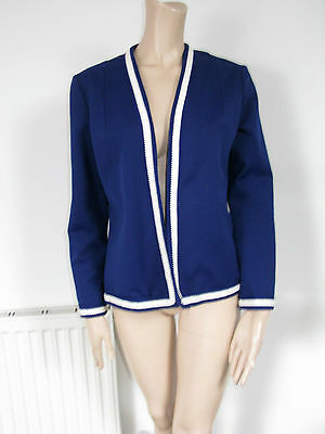 Honore vintage cardigan jacket navy blue white border S M