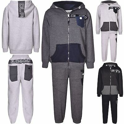 DL Project 86.0 Boys Zip Contrast Hoody Denim Pocket Jogging Bottoms Tracksuit