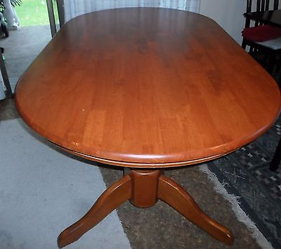 Oval Timber Dining Table - Solid With 2 Legs