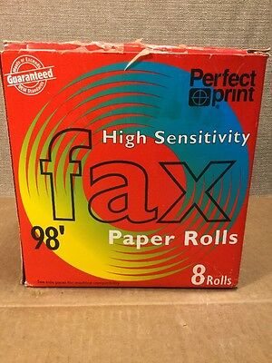 """Perfect print Thermal Fax Paper with 1/2""""core, 8 1/2"""" x 98'  7 rolls"""