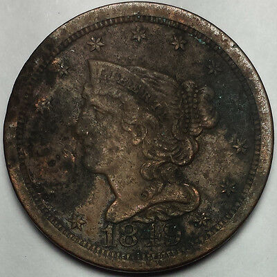 1849 Braided Hair Half Cent - Old Us Copper Coin